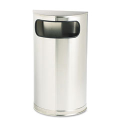 Rubbermaid Round Metal Outdoor Trash Can, 9 Gallon, Stainless Steel
