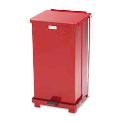 Rubbermaid Biohazard Step-On Steel Indoor Trash Can, 12 Gallon, Red