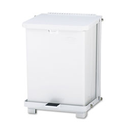 Rubbermaid Biohazard Step-On Steel Indoor Trash Can, 7 Gallon, White