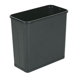 Rubbermaid Fire-Safe Wastebasket, Rectangular, Steel, 7.5 gal, Black