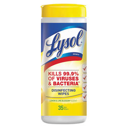 Lysol Disinfecting Wipes, Lemon Scented, Case of 12