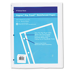 National Brand Rip Proof 20-lb, Reinforced Filler Paper, Unruled, 11 x 8-1/2, WE, 100 Sheets/Pk