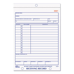 Rediform Carbonless Receiving Record Book, Duplicate, 50 Sets/Book