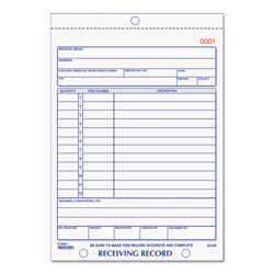 Rediform Receiving Record Book, 5 9/16 x 7 15/16, Three-Part Carbonless, 50 Sets/Book
