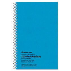 National Brand 3 Subject Wirebound Notebook, College Rule, 9 1/2 x 6, White, 150 Sheets