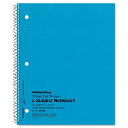 National Brand 3 Subject Wirebound Notebook, College Rule, 11 x 8 7/8, White, 150 Sheets