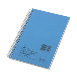 National Brand Subject Wirebound Notebook, College Rule, 7 3/4 x 5, White, 80 Sheets