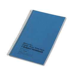 National Brand Subject Wirebound Notebook, College Rule, 9 1/2 x 6, White, 80 Sheets
