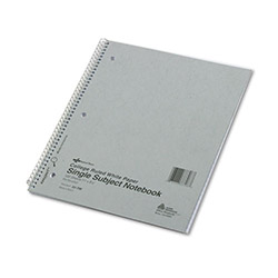 National Brand Subject Wirebound Notebook, College/Margin Rule, 11 x 8 7/8, White, 100 Sheets