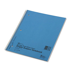 National Brand Subject Wirebound Notebook, College/Margin Rule, 11 x 8 7/8, White, 50 Sheets