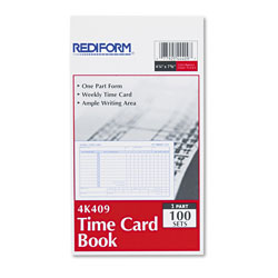 Rediform Employee Time Card, Weekly, 4-1/4 x 7, 100/Pad