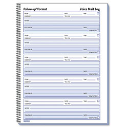 Rediform Voice Mail Wirebound Log Books, 8 x 10 5/8, 500 Sets/Book