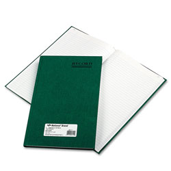 National Brand Emerald Series Account Book, Green Cover, 150 Pages, 12 1/4 x 7 1/4