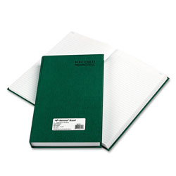 National Brand Emerald Series Account Book, Green Cover, 500 Pages, 12 1/4 x 7 1/4