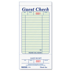 Rediform Guest Check Book, 3 3/8 x 6 1/2, Tear-Off at Bottom, 50/Book