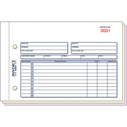 "Rediform Invoice Form, 3 Part, Carbonless, Invoice, 5 1/2""x7 7/8"""