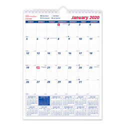 Brownline One Month Per Page Twin Wirebound Wall Calendar, 8 x 11, 2018