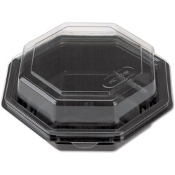 Reynolds 12096 Black Octagon Hinged Lid Bowl, 16 Ounce