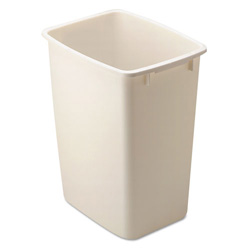 Rubbermaid Open-Top Wastebasket, Rectangular, Plastic, 9 gal, Bisque