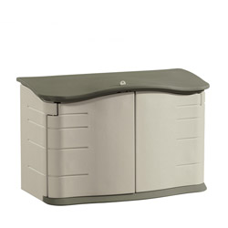 """Rubbermaid Large Plastic Horizontal Outdoor Storage Shed, Taupe, 55"""" w"""