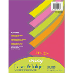 Riverside Paper Assorted Hyper® Colored Bond Paper, 24 lb., 8 1/2x11, 500 Sheets/Ream
