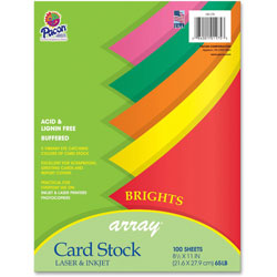 "Riverside Paper Card Stock Paper, 65 lb.,8 /2""x11"", 100/Pack, Assorted Colors"