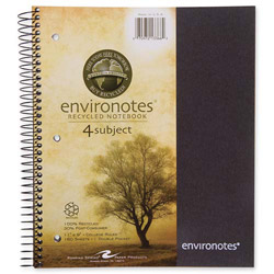 "Roaring Spring Paper Wirebound Notebook, 3-Sub, 11"" x 9"" 120 SH, Assorted"