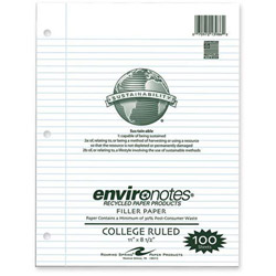 "Roaring Spring Paper Paper Products Filler Paper, College Ruled, 100 Sheets, 11"" x 8-1/2"", White"