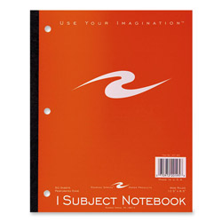 "Roaring Spring Paper Wireless Notebook, 3 HP, Perforated, 10-1/2""x8-1/2"", 1 Subject"