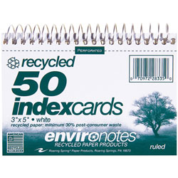 "Roaring Spring Paper Wirebound Index Cards, 5""x3 1/2"", 50 Sheets, Ruled, Perforated, White"