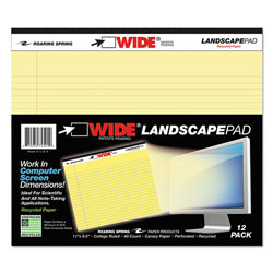Roaring Spring Paper Landscape Format Writing Pad, College Ruled, 11 x 9-1/2, Canary, 40 Sheets/Pad