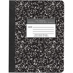 "Roaring Spring Paper Composition Book, Quad Ruled, 5"" x 5"" 80 Sh, 9-3/4"" x 7-1/2"" BK"