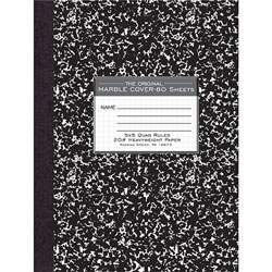 "Roaring Spring Paper Composition Book, Quad Ruled, 5"" x 5"" 80 Sh, 10-1/8"" x 7-7/8"" BK"