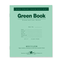 "Roaring Spring Paper Exam Book, Wide Ruled, 8 Sh/16 Pages, 8-1/2"" x 7"" 50/PK, Green"