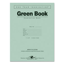 Roaring Spring Paper Green Books Exam Books, Stapled, 8 Sheet/16-Page, Wide Rule,11 x 8 1/2,