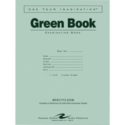"Roaring Spring Paper Exam Book, Wide Ruled, 8/Shts, 11""x8-1/2"", 50/PK, Green"