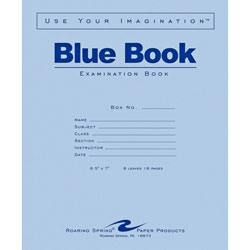 "Roaring Spring Paper Examination Book, Wide Rule, 16 Pages, 8-1/2""x7"", Blue"