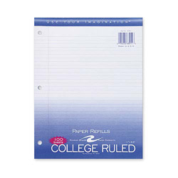 "Roaring Spring Paper Filler Paper, College Ruled, 11"" x 8-1/2"" 3HP, 200 Sh/PK, White"