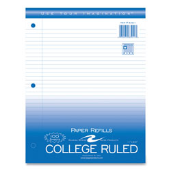 "Roaring Spring Paper Filler Paper, College Ruled, 11"" x 8-1/2"" 3HP, 100 Sh/PK, White"