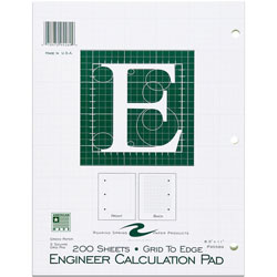 "Roaring Spring Paper Engineering Pad, 5"" x 5"" Quad, 3HP, 200 Shts, 11"" x 8-1/2"" Green"