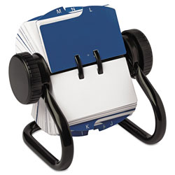 Rolodex Open Rotary Card File, 250 1 3/4 x 3 1/4 Cards, 24 Guides, Black Finish