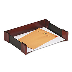 Rolodex Mahogany Wood & Black Leather Letter Tray, 13 3/8w x 9 11/16d x 2 5/8h