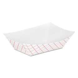 "Dixie RP50 Red Plaid Paper Food Trays, 59/32"" x 33/4"" x 13/8"""