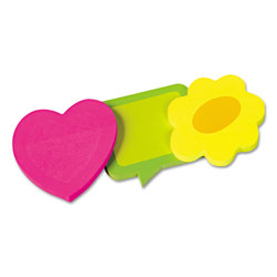 Redi-Tag/B. Thomas Enterprises Self Stick Die Cut Shaped Notepads, 3 Pack, 1 each Heart/Flower/Dialog Box