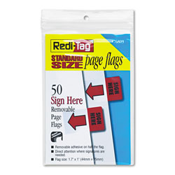 Redi-Tag/B. Thomas Enterprises Rectangular Message Page Flags, SIGN HERE, 1 11/16 x 1, Red, 50/Pack