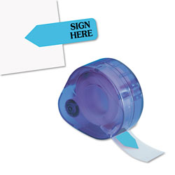 Redi-Tag/B. Thomas Enterprises Arrow Message Flags for Right Side, SIGN HERE, Blue, 120/Refillable Dispenser