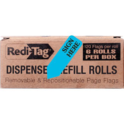 Redi-Tag/B. Thomas Enterprises SIGN HERE Blue Arrow Flag Dispenser Refill for Right Side, 6 120 Flag Rolls/Box