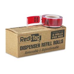 Redi-Tag/B. Thomas Enterprises SIGN HERE Red Arrow Flag Dispenser Refill for Either Side, 6 120 Flag Rolls/Box