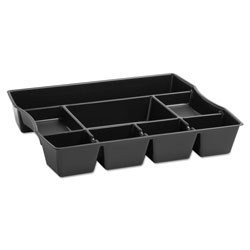 "Rubbermaid 9-Compartment Deep Drawer Organizer, Plastic, 11-87/100"" Depth, Blk"