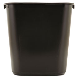 Rubbermaid Plastic Desk Wastebasket, 28 1/8 Quart, Black